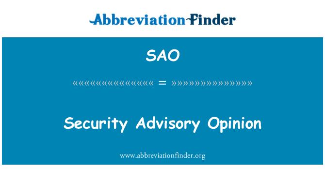 SAO: Security Advisory Opinion