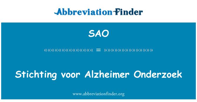 SAO: Stichting voor Alzheimer Onderzoek