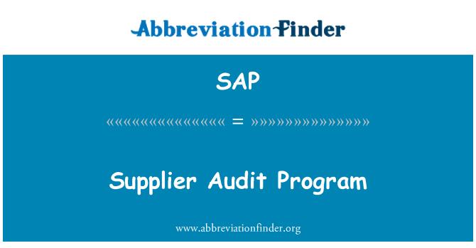 SAP: Supplier Audit Program