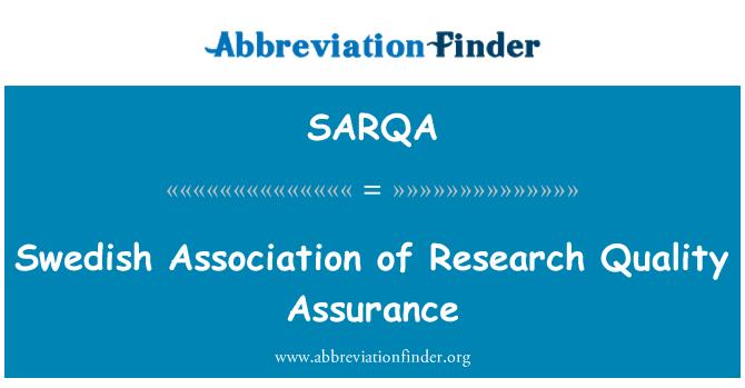 SARQA: Swedish Association of Research Quality Assurance
