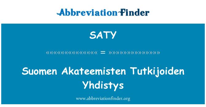 SATY: Akateemisten de Suomen Tutkijoiden Yhdistys