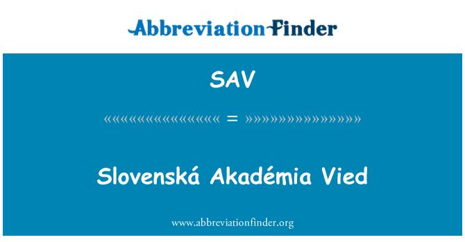 SAV: Slovenská Akadémia Vied