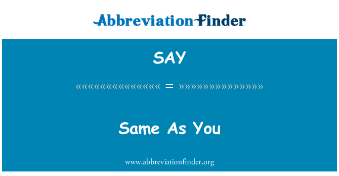 SAY: Same As You