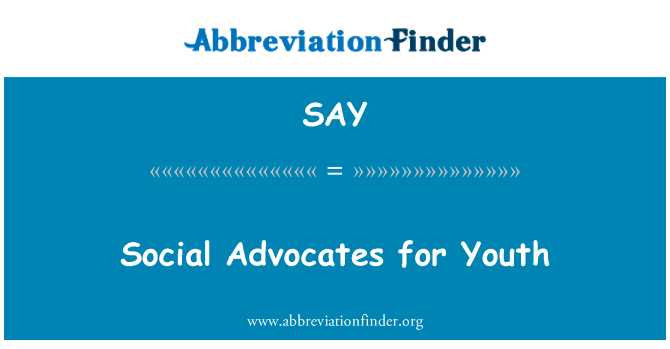 SAY: Social Advocates for Youth