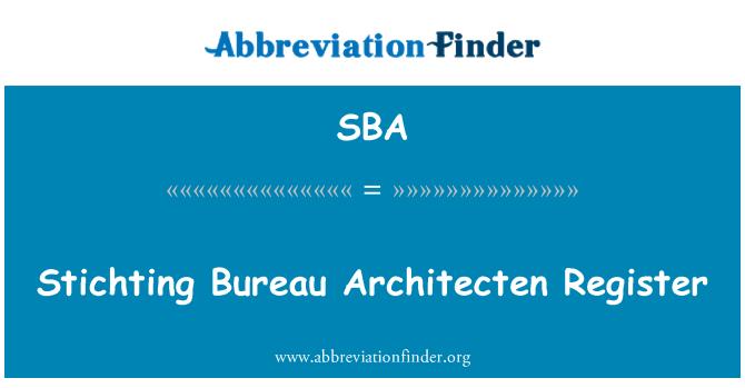 SBA: Stichting Bureau Architecten Register