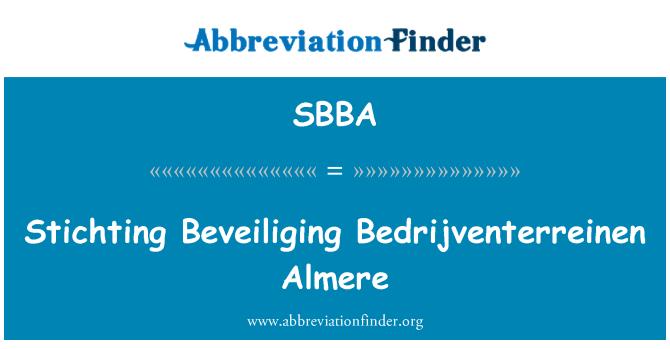 SBBA: Stichting Beveiliging Bedrijventerreinen Almere