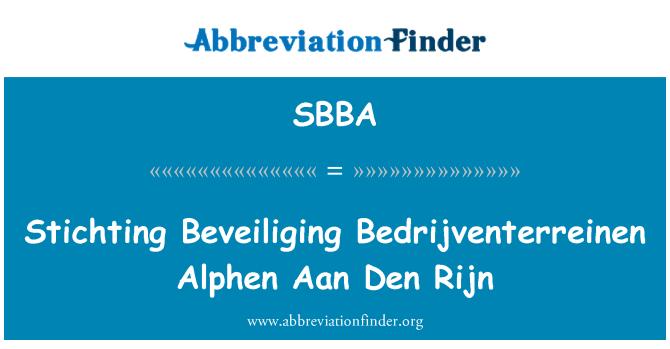 SBBA: Stichting Beveiliging Bedrijventerreinen Alphen Aan Den Rijn
