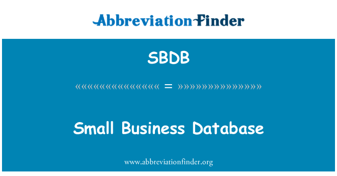 SBDB: Male poslovne baze podataka