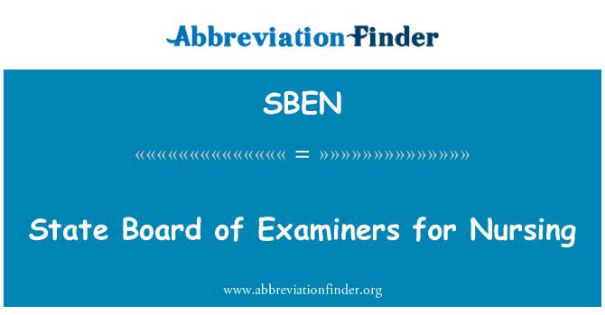 SBEN: Eyalet Hemşirelik için sınav kurulu