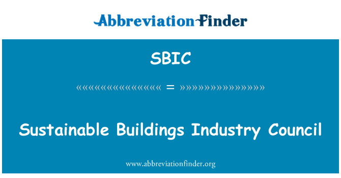 SBIC: Sustainable Buildings Industry Council