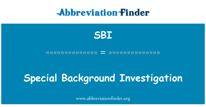 SBI: Special Background Investigation