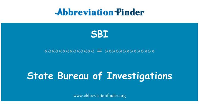 SBI: State Bureau of Investigations