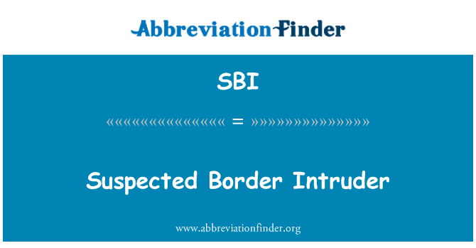 SBI: Suspected Border Intruder