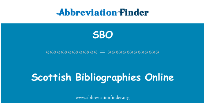 SBO: Scottish Bibliographies Online