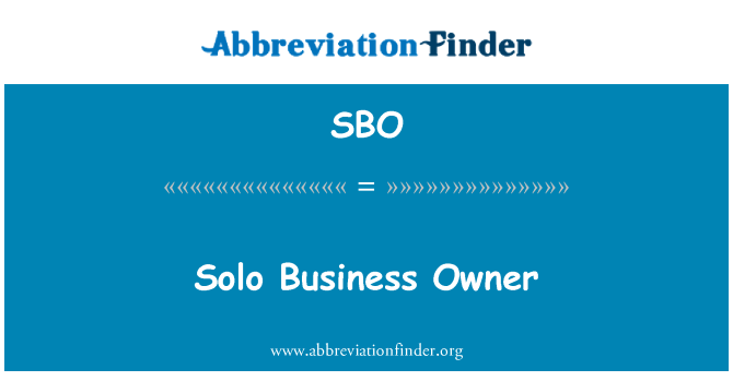 SBO: Solo Business Owner