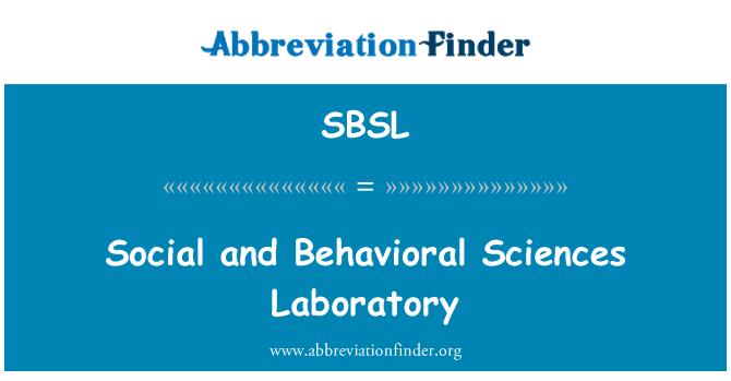 SBSL: Sosyal ve davranış bilimleri Laboratuvarı
