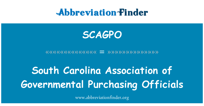 SCAGPO: South Carolina Association of Governmental Purchasing Officials