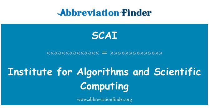 SCAI: Institute for Algorithms and Scientific Computing