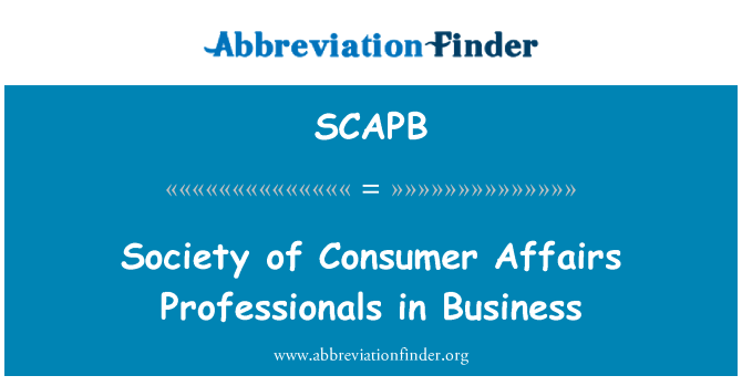SCAPB: Society of Consumer Affairs Professionals in Business