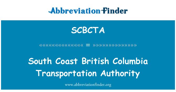 SCBCTA: South Coast British Columbia Transportation Authority