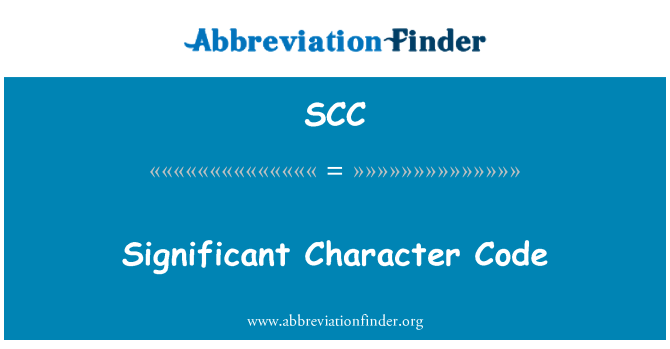 SCC: Significant Character Code