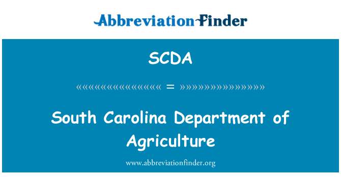 SCDA: South Carolina Department of Agriculture