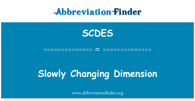 SCDES: Slowly Changing Dimension