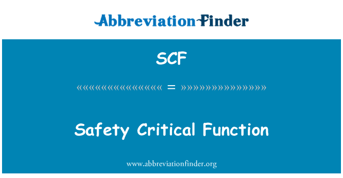 SCF: Safety Critical Function