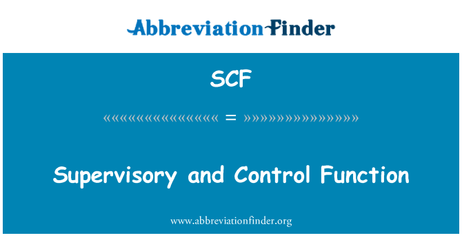 SCF: Supervisory and Control Function