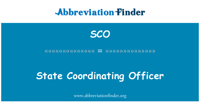 SCO: State Coordinating Officer