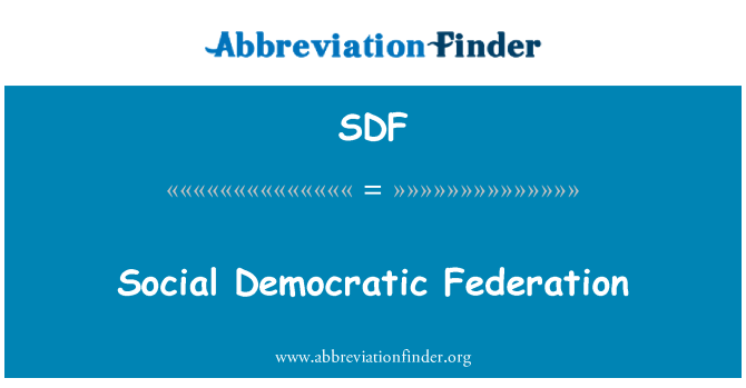 SDF: Social Democratic Federation