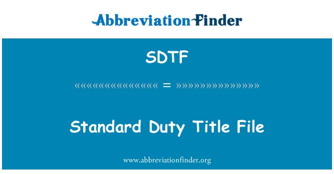 SDTF: Standart görev başlık dosya