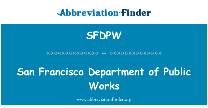 SFDPW: San Francisco Department of Public Works