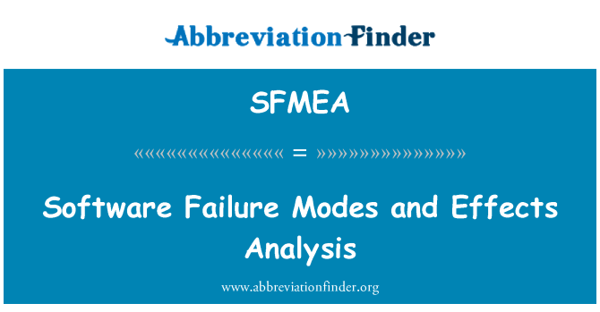 SFMEA: Software Failure Modes and Effects Analysis
