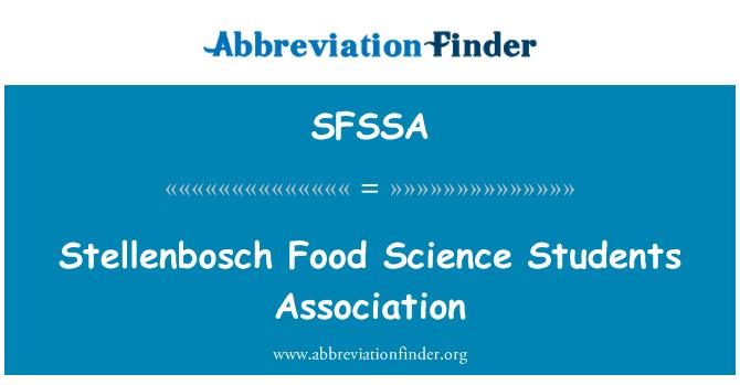 SFSSA: Stellenbosch Food Science Students Association