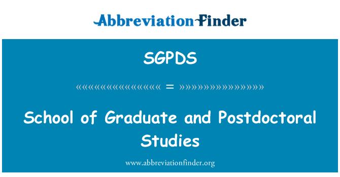 SGPDS: School of Graduate and Postdoctoral Studies
