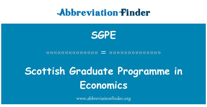 SGPE: Scottish Graduate Programme in Economics