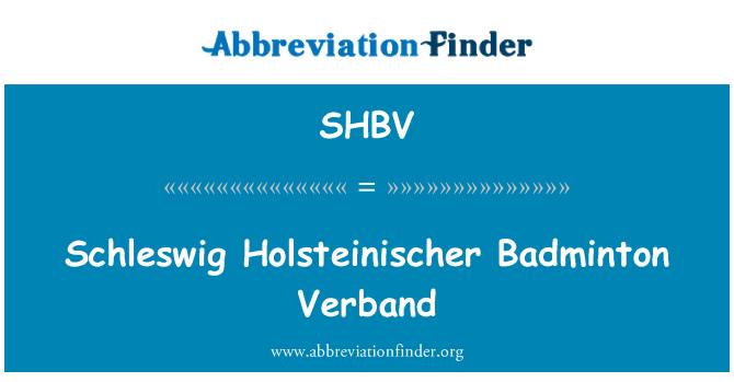 SHBV: Schleswig Holsteinischer Badminton Verband
