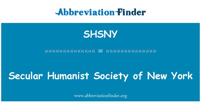 SHSNY: Sekularna humanističkog društva New Yorka
