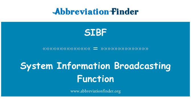 SIBF: 系统信息广播功能