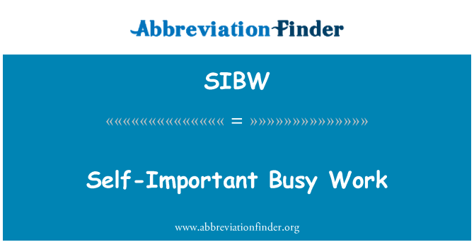 SIBW: Self-Important Busy Work