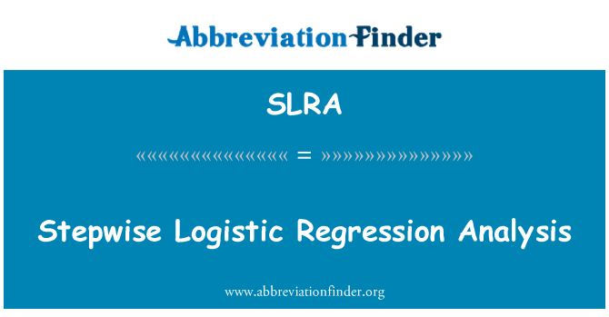SLRA: Analisi di regressione stepwise Logistic