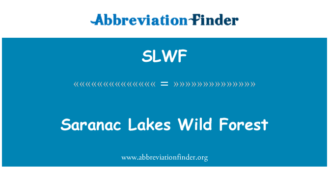 SLWF: Saranac Lakes Wild Forest