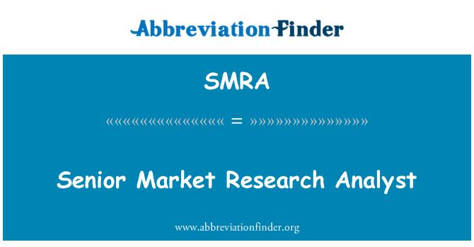 SMRA: वरिष्ठ बाजार शोध विश्लेषक