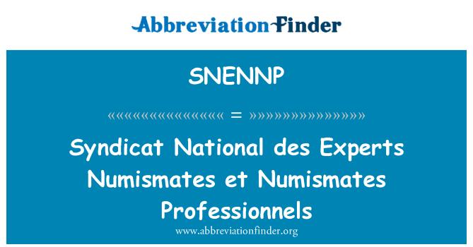 SNENNP: Syndicat National des Experts Numismates et Numismates Professionnels