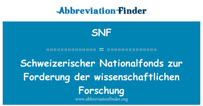 SNF: Schweizerischer Nationalfonds zur Forderung der wissenschaftlichen Forschung