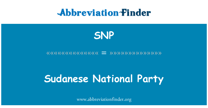 SNP: Sudanese National Party