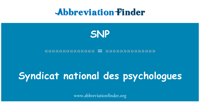 SNP: Syndicat national des psychologues