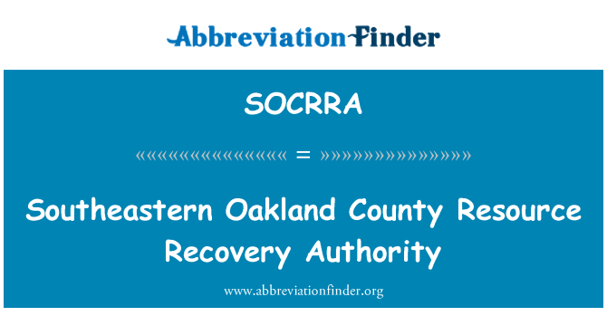 SOCRRA: Southeastern Oakland County Resource Recovery Authority