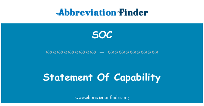 SOC: Statement Of Capability